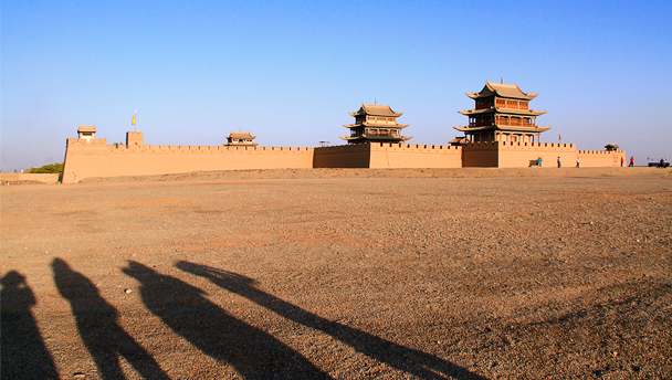 A view of the West Gate of Jiayuguan Fortress, seen from outside the walls