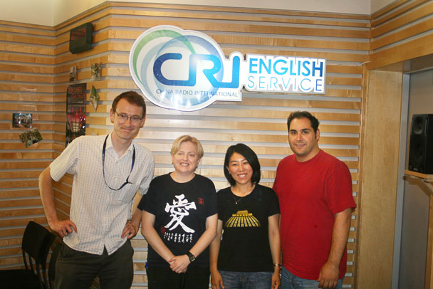 Huijie and the hosts of the radio show - Huijie interviewed on China Radio International