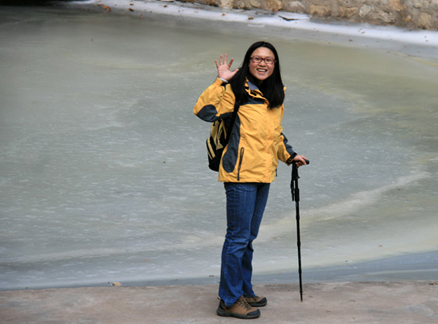 Beside a frozen pond, Beijing Hikers Immortal Valley hike, 2009-12-09
