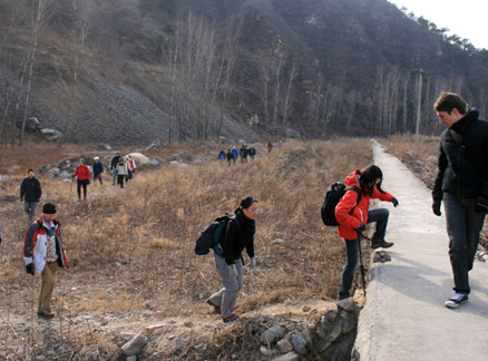 Hikers, Beijing Hikers Big Black Mountain to the Walled Village hike, 2009-12-12