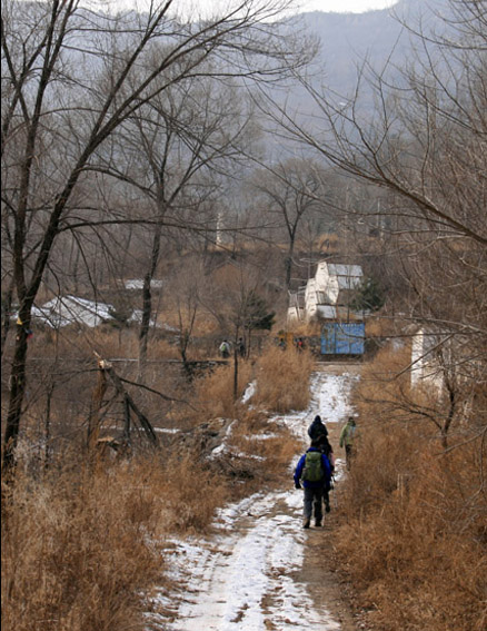 Approaching the village, Beijing Hikers Cypress Wells Canyon hike, 2009-12-13