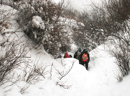 Ravine entrance, Beijing Hikers Snow hike, 2010-01-03