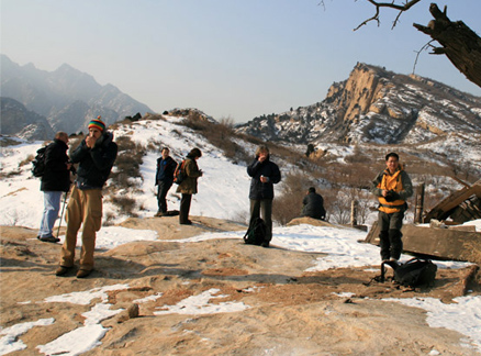 Hikers on rocks, Beijing Hikers Longyunshan and White River hike, 2010-01-16