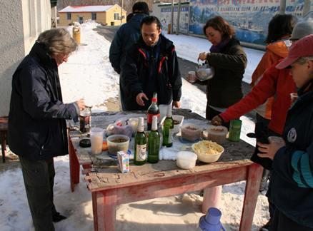 Snacks on table, Beijing Hikers Longyunshan and White River hike, 2010-01-16