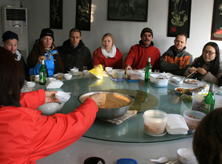 Soup and snacks, Beijing Hikers Rolling Hills and Empty Lanes hike, 2010-01-17