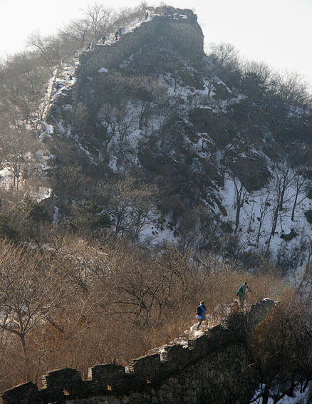 Great Wall on hillside, Beijing Hikers Lotus Pond to Mutianyu hike, 2010-01-24