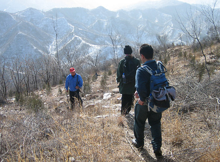 Hillside trail, Beijing Hikers Great Wall Spur hike, 2010-01-27