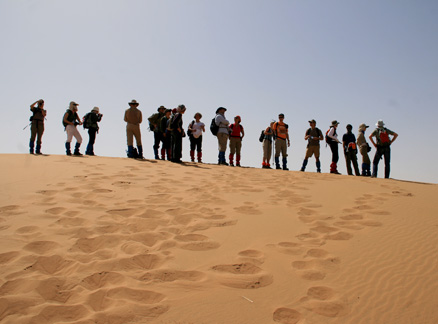 Hiking group on a dune, Beijing Hikers Alashan Desert Trip, May 1-4, 2010