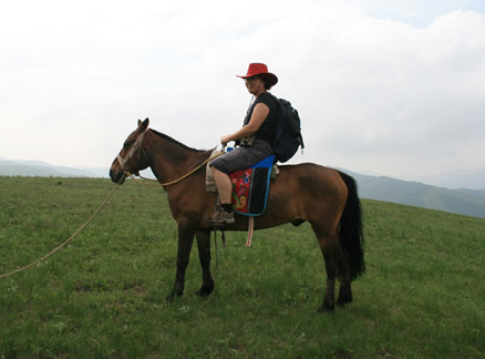 Hiker on horseback, Beijing Hikers Bashang Grasslands Trip, June 18-20, 2010
