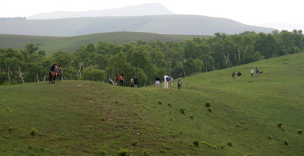 Walking along a ridge, Beijing Hikers Bashang Grasslands Trip, June 18-20, 2010