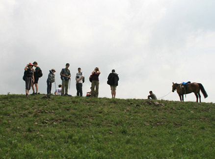 Hikers on the ridge, Beijing Hikers Bashang Grasslands Trip, June 18-20, 2010