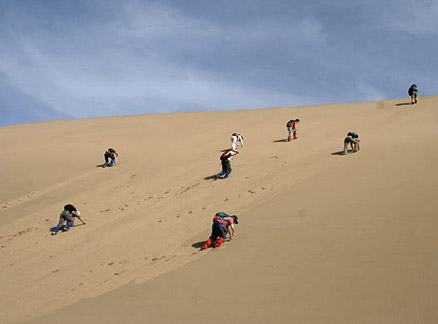 Climbing a sand dune, Beijing Hikers Journey from the West trip, October 1-7, 2010