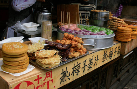 Street snacks, Beijing Hikers Yunnan scouting, November 2010