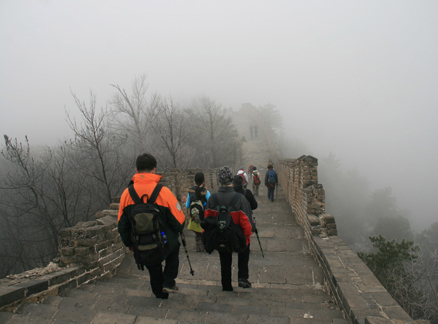 Walking on the Great Wall, Beijing Hikers Huanghuacheng to the Walled Village hike, December 1, 2010