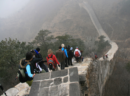 Steep Great Wall, Beijing Hikers Huanghuacheng to the Walled Village hike, December 1, 2010