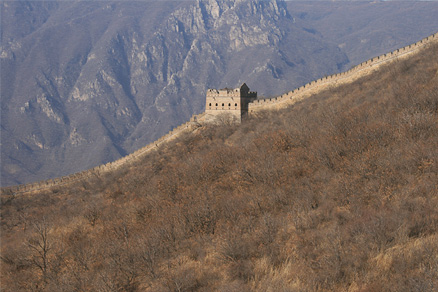 A mid-slope tower, Beijing Hikers the Great Wall Spur hike, Febrary 02, 2011