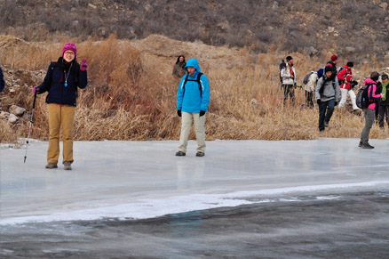 Hikers on the ice, Beijing Hikers White River Ice Hike, February 5, 2011