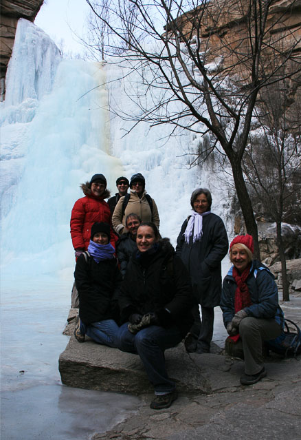 In front of an ice fall, Beijing Hikers Heilongtan hike, February 09, 2011