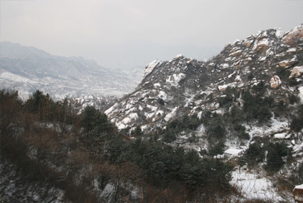 The snow-covered landscape , Beijing Hikers Silver Pagodas hike, February 13, 2011
