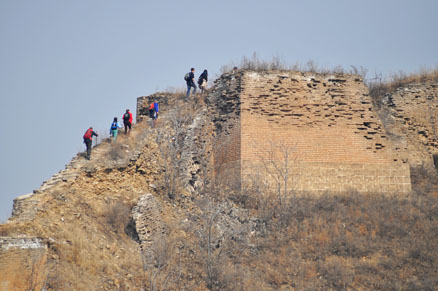 Many steep sections on the Great Wall, Beijing Hikers Gubeikou Loop Hike, March 05, 2011