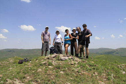 At the peak, Beijing Hikers BashangGrasslands, June17, 2011
