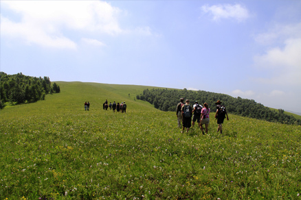 the ridge, Beijing Hikers Bashang Grassland, July29, 2011