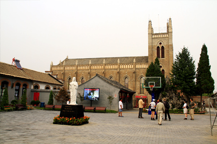Yard of the Yongning Church, Beijing Hikers Gypress Wells Canyon, August06, 2011
