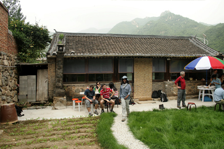 relaxed for a while outside of the cottage, Beijing Hikers SanchaValley, August6, 2011