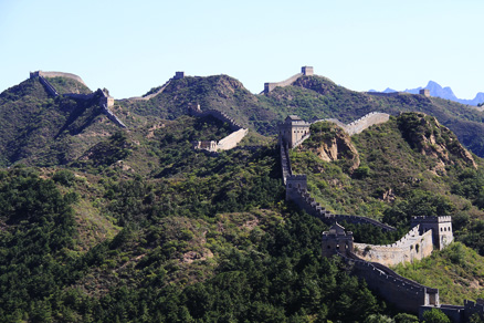 A closeup view of the majestic Jinshanling Great Wall , Beijing Hikers Jinshanling, Septemper21, 2011