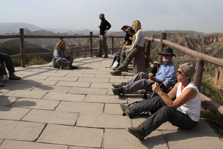a viewing platform, Beijing Hikers Zhangye Danxia, October07, 2011