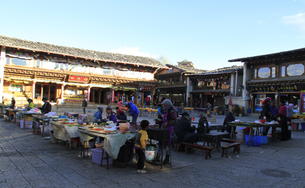 A big town square, Beijing Hikers Lijiang and Shangri-La,November, 2011