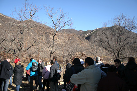 a towering section of Great Wall, Beijing Hikers Zhuangdaokou to the Walled Village, November13, 2011