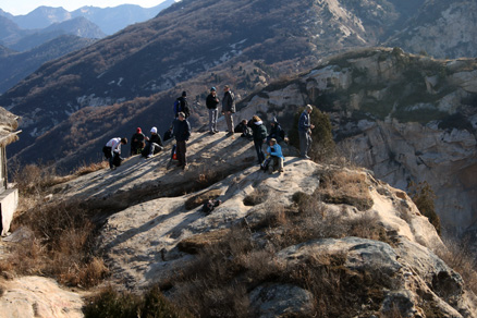 enjoying the views of mountains and the river canyon far below, Beijing Hikers Longyunshan, November19, 2011