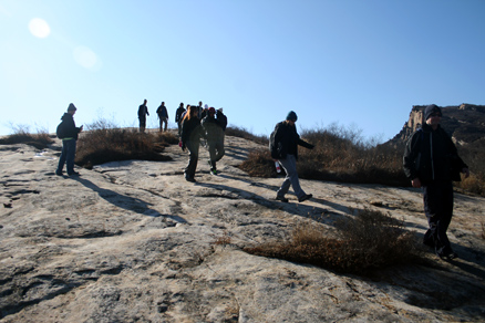 a path across bare rock, Beijing Hikers Longyunshan, November19, 2011