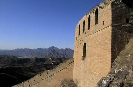 Looking back at a tower, Beijing Hikers Gubeikou GreatWall Loop Midweek, November02, 2011