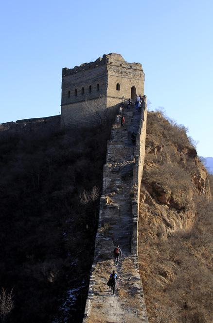The last steep climb, Beijing Hikers Gubeikou GreatWall Loop Midweek, November02, 2011