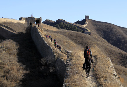 towards the tall tower, Beijing Hikers Gubeikou GreatWall Loop Midweek, November02, 2011