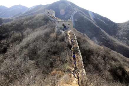 the ridgeline, Beijing Hikers Middle Route of Switchback Great Wall, February04,2012
