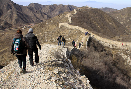 This section of the wall, Beijing Hikers Middle Route of Switchback Great Wall, February04,2012