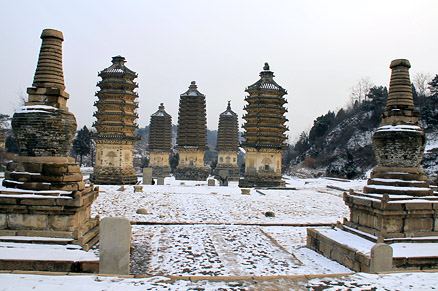 the snow covered pagodas, Beijing Hikers LilyVillage, March04, 2012