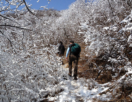 a snowy traverse, Beijing Hikers GreatWallSpur, March18, 2011