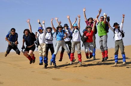 Jump for joy, Beijing Hikers TenggerDesert Trip, June, 2012