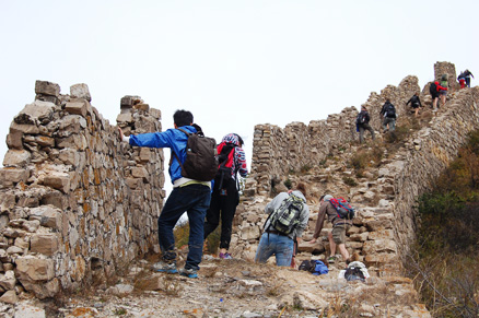 A steep section of wall., Beijing Hikers Zhenbiancheng Great Wall, October04,2012