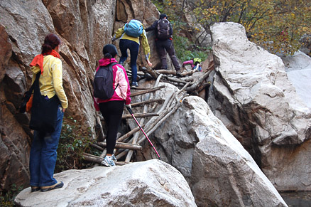 Some creative ladders., Beijing Hikers Dragon Spring Valley, October17,2012