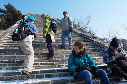 steep ascent, Beijing Hikers Zhuangdaokou Great Wall and Hot spring, Dec26, 2012