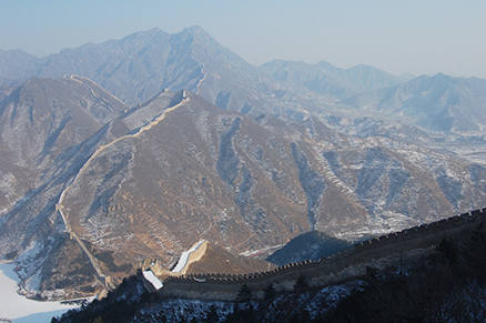 a frozen reservoir, Beijing Hikers Zhuangdaokou Great Wall and Hot spring, Dec26, 2012