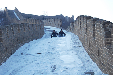 Sliding down slope, Beijing Hikers Zhuangdaokou Great Wall and Hot spring, Dec26, 2012
