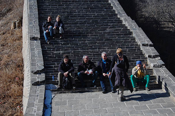 another rest break, Beijing Hikers Huanghuacheng to the Walled Village, 2013/02/23