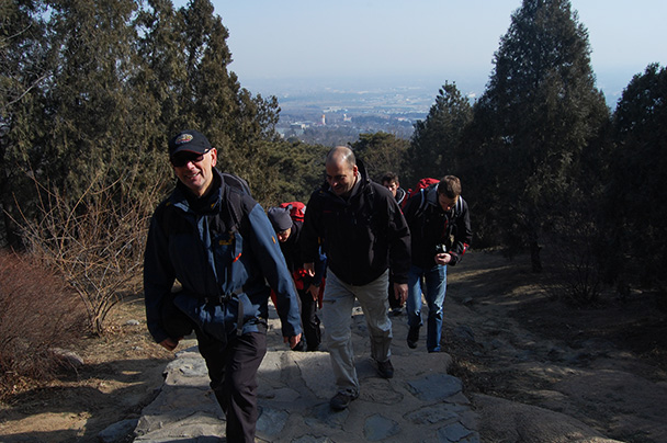 the start of the hike, Beijing Hikers Vulture Rock Park to Miaofeng Mountain, 2013/03/03