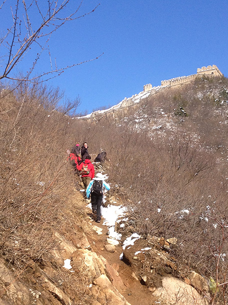 a narrow trail, Beijing Hikers Walled Village to Huanghuacheng Great Wall hike, 2013/03/20